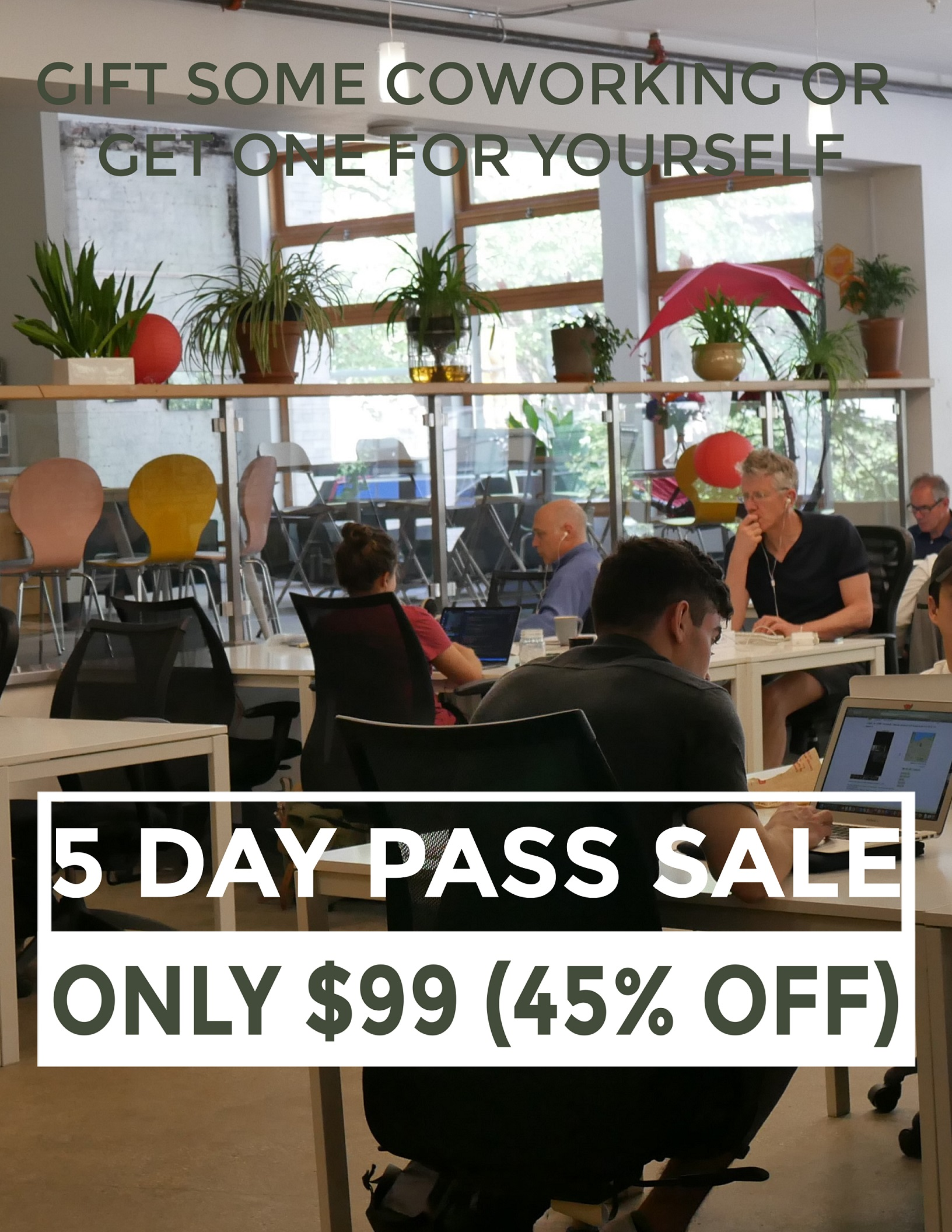 Gift some coworking or get one for yourself: 5 day pass sale - only $99 (45% off)