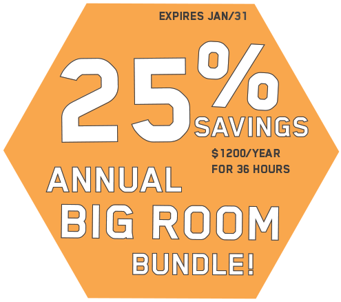 25% off annual big room bundle. $1200 per year for 36 hours of meeting room time. Expires January 31st.