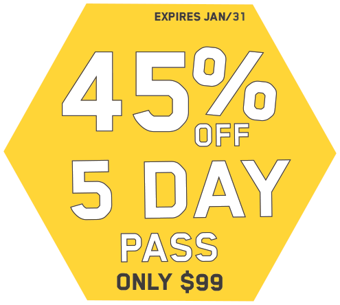 45% off 5 day pass. Only$99. Expires January 31st.